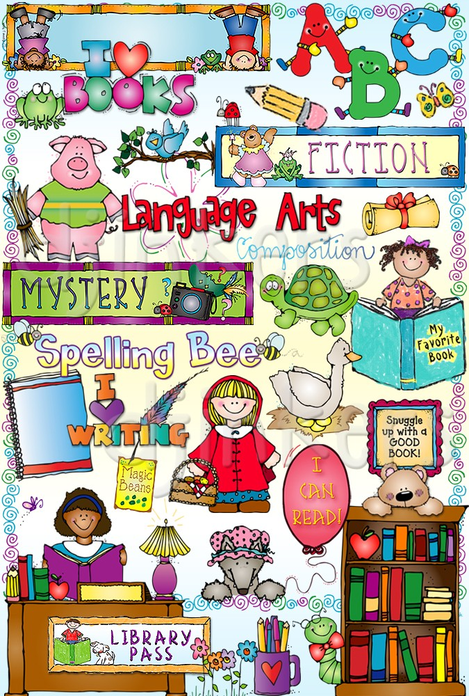 Language Arts clip art, English clip art, fairytale clip art, parts of speech