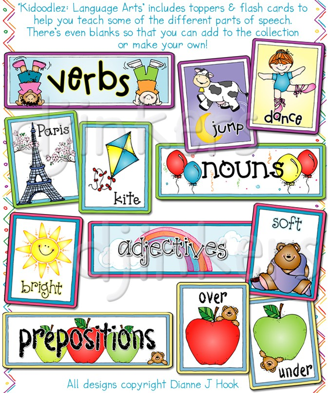Language Arts flash cards, nouns, verbs, adjectives, prepositions
