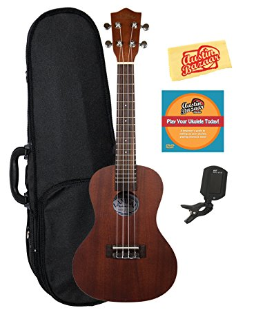 Lanikai LU-21C Concert Ukulele Bundle with Hard Case, Clip-On Tuner,