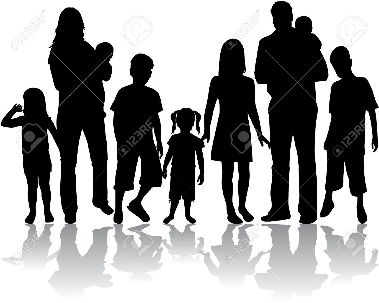 large family: Profiles of large family Illustration