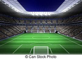 ... Large Football Stadium With Lights --... Large football stadium with lights - Digitally generated.-15