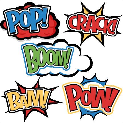 Large superhero words cliparts