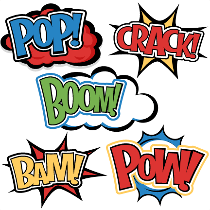 Large superhero words cliparts