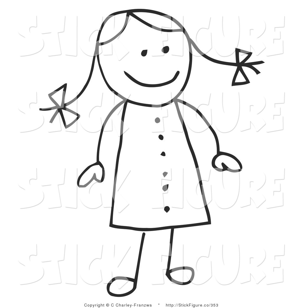Larger Preview Clip Art Of A  - Clipart Stick Figure