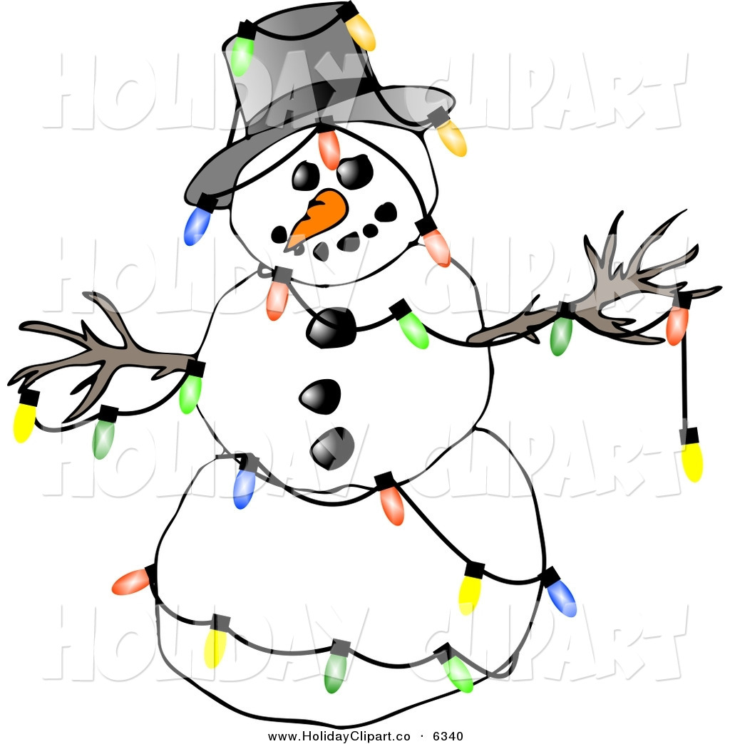 Larger Preview Holiday Clip Art Of A Festive Winter Snowman Decorated
