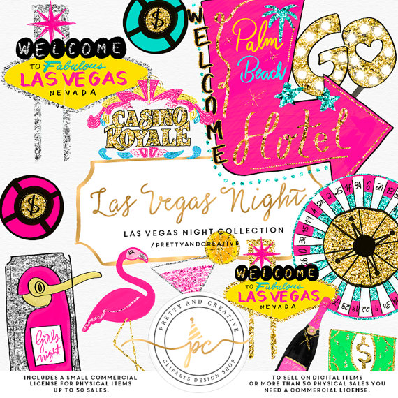 Las Vegas Clipart, Glitter Set, Clip Art Vegas, Party, Casino Clipart,  Gambling Clipart, Hand-Painted Clipart, Birthday Clipart, Girly