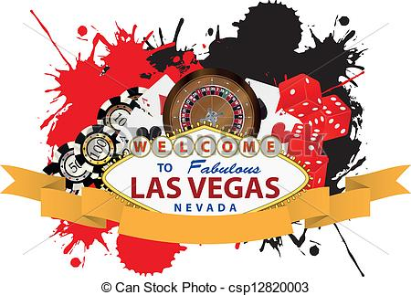 ... las vegas ribbon - illustration of las vegas with yellow... ...