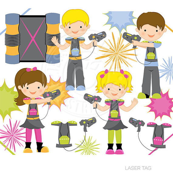 Laser Tag Cute Digital Clipart - Commercial Use OK - Laser Tag Clipart, Laser Blast