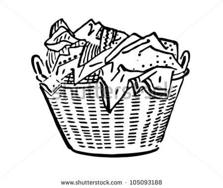 Laundry Basket - Retro Clipart Illustration