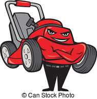 Lawn Mower Man Standing Arms Folded Cart-Lawn Mower Man Standing Arms Folded Cartoon - Illustration.-11