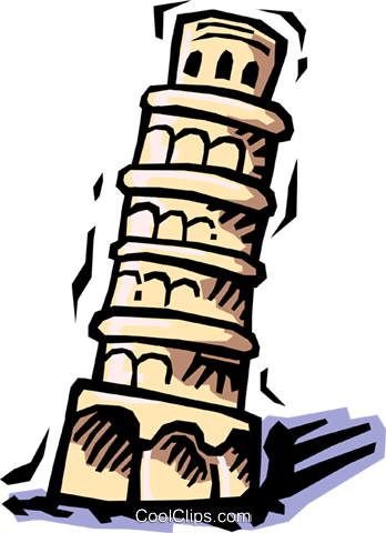 Leaning Tower of Pisa Royalty Free Vector Clip Art illustration
