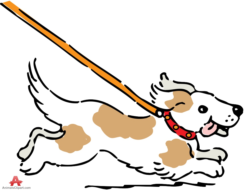 Leashed Dog Running Clipart