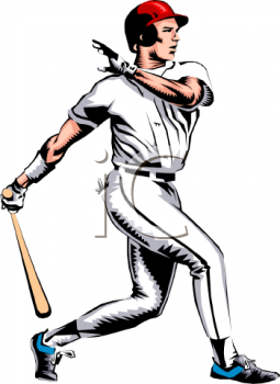 Lefty Baseball Batter Clipart - Baseball Batter Clipart