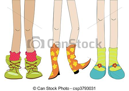 Sketch with girl shoes and le - Legs Clipart