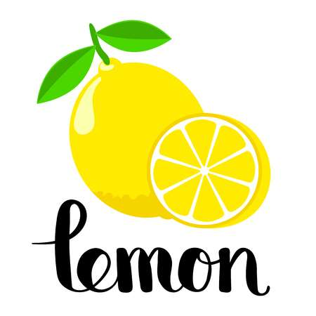 Lemon and a half with handwritten inscription. Flat style editable vector  illustration. Letter L