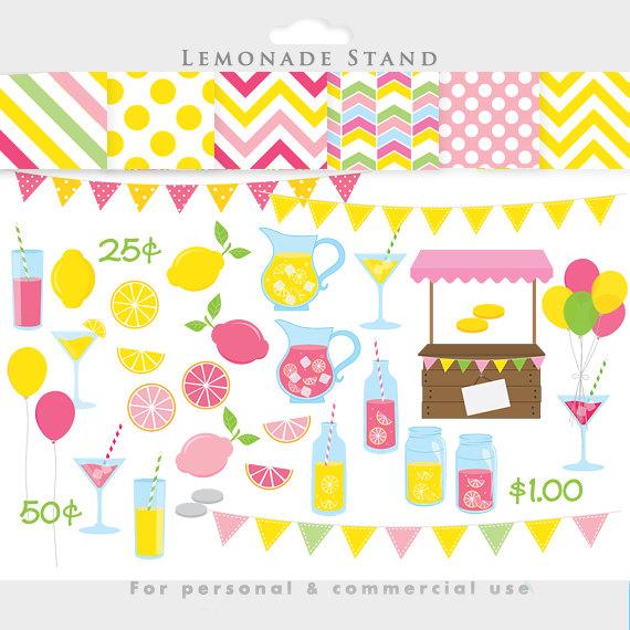 Lemonade clipart - pink lemonade stand clip art, summer, fruit, spring, lemons