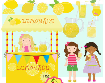 Lemonade party,Lemon,Lemonade stand digital clip art for-Personal and Commercial Use