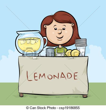 ... Lemonade Stand - A cartoon girl manages a lemonade stand.
