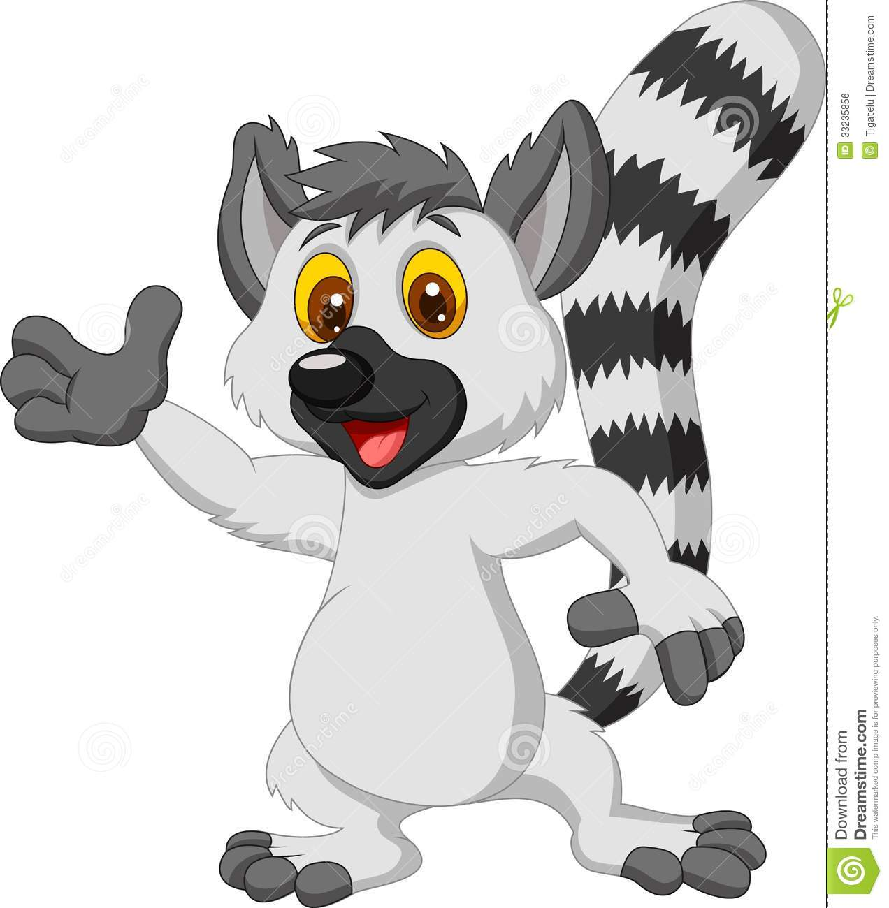 Lemur cartoon waving hand Royalty Free Stock Image