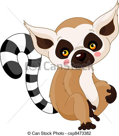 Lemur - Fun zoo. Illustration of cute Lemur