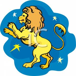 A Gold Leo In A Starry Sky - Clipart-A Gold Leo In a Starry Sky - Clipart-2