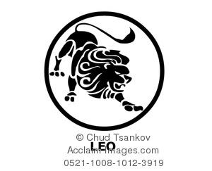 black and white leo the lion  - Leo Clipart