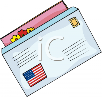 Clipart Picture Of A Letter With An Amer-Clipart Picture of a Letter with an American Flag Sticker on the Outside-11