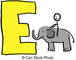 ... Letter E - A Childlike Drawing Of Th-... Letter E - A childlike drawing of the letter E, with a stick.-6
