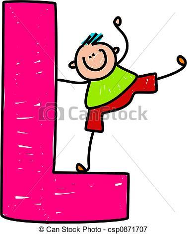 ... Letter L Boy - Happy Little Boy Bala-... letter L boy - happy little boy balancing on a giant letter... ...-11