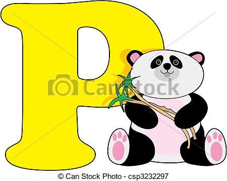 ... Letter P With A Panda-... Letter P with a Panda-11
