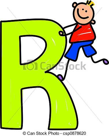 ... Letter R Boy - Happy Little Boy Clim-... letter R boy - happy little boy climbing over a giant letter... ...-6