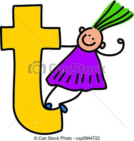 ... letter T girl - happy little girl cl-... letter T girl - happy little girl climbing over a giant... ...-2