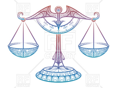 Colorful Justice scales or zodiac sign of Libra zentangle style, 148560,  download royalty- ClipartLook.com