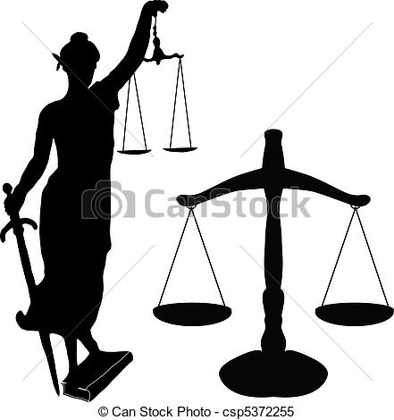 Justice statue and libra - cs - Libra Clipart