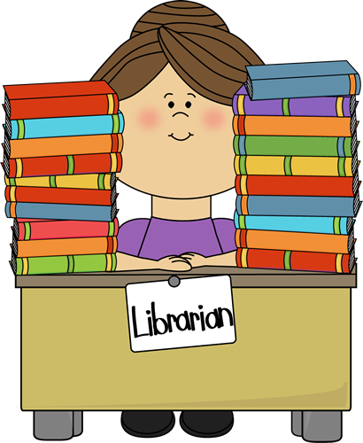 Librarian Clip Art Image - librarian sitting at a desk with stacks of library books on the desk