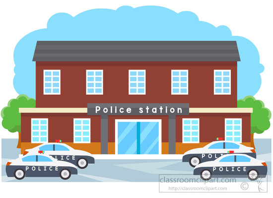 library building clipart black and white. police station building .