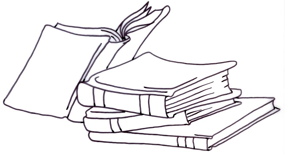 Library Clipart Black and . - Books Clipart Black And White