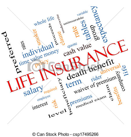 Life Insurance Word Cloud Concept Angled - csp17495266