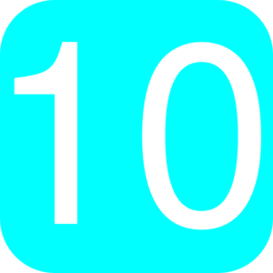 Light Blue, Rounded, Square With Number -Light Blue, Rounded, Square With Number 10 Clip Art-8