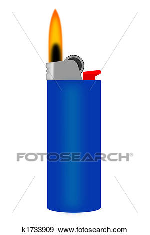A blue cigarette lighter with flame