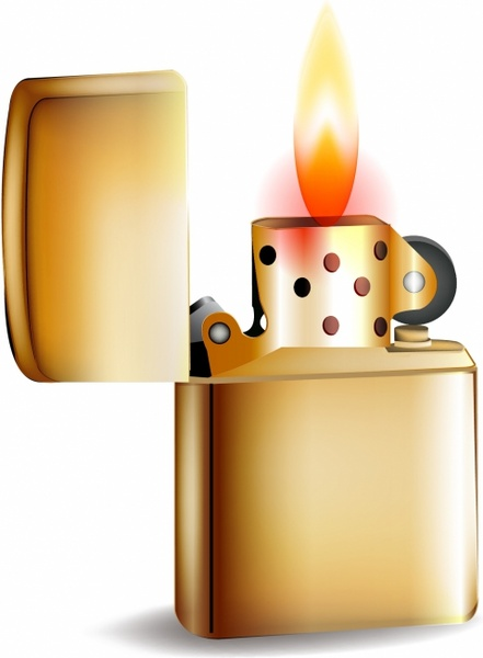 Metal golden lighter with fire