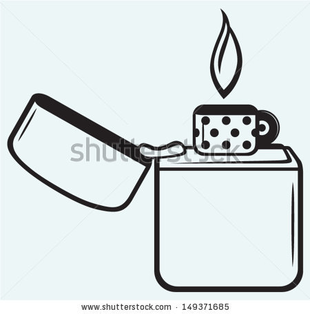 Metal zippo lighter isolated on blue background