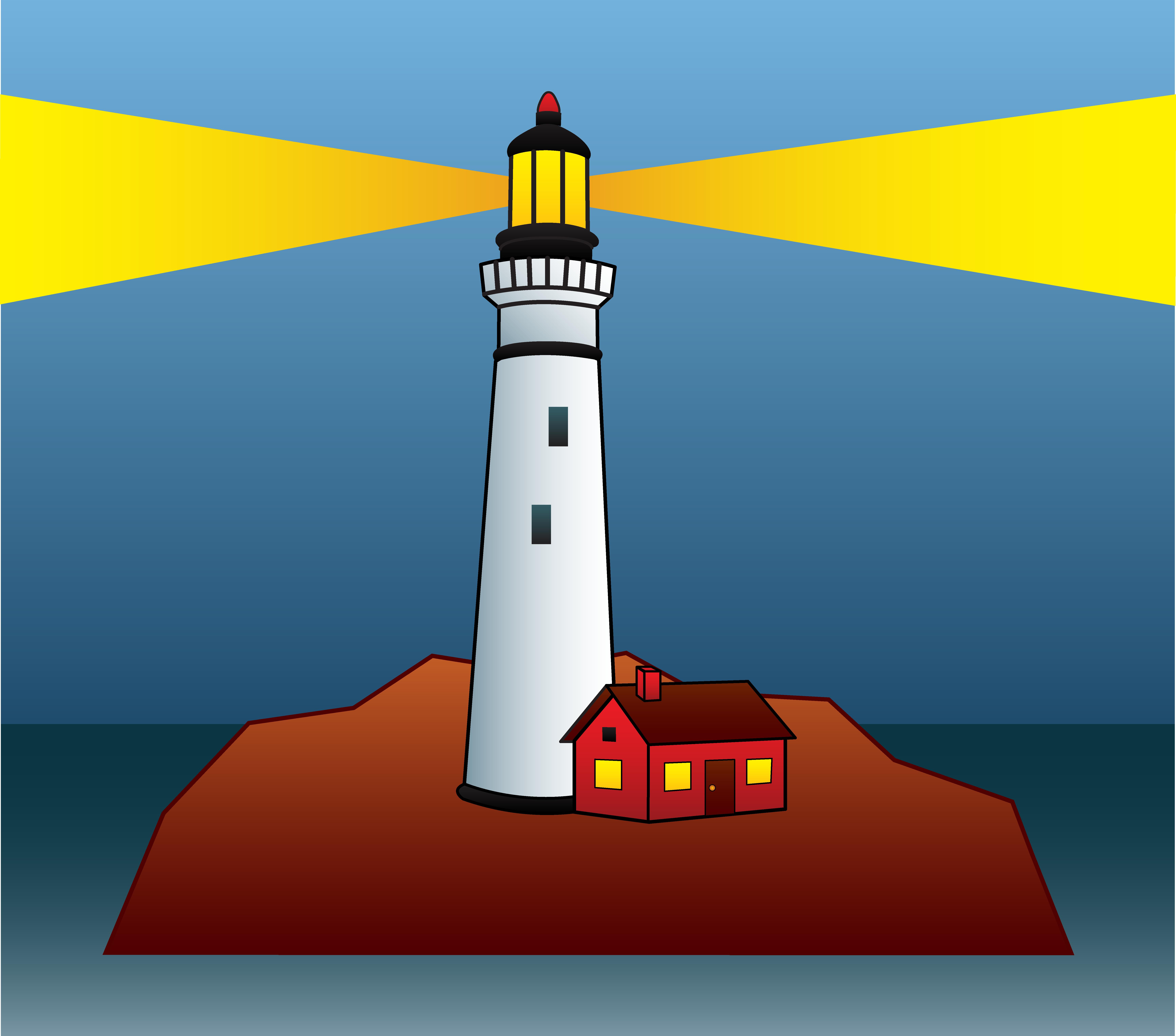 Lighthouse Shining Light At Night - Free-Lighthouse Shining Light At Night - Free Clip Art-11