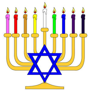 Lighting a Menorah Clip Art