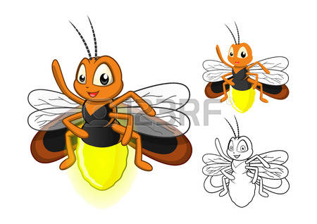 lightning bug: High Quality Detailed Firefly Cartoon Character with Flat Design and Line Art Black