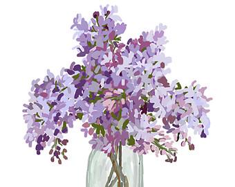 Lilacs in Vase - Original Art, lilac clip art, lilac painting