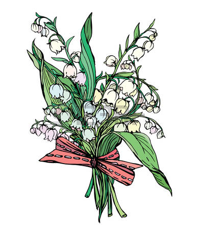 Lily of the valley - vintage engraved illustration of spring flowers,  isolated on white baskground