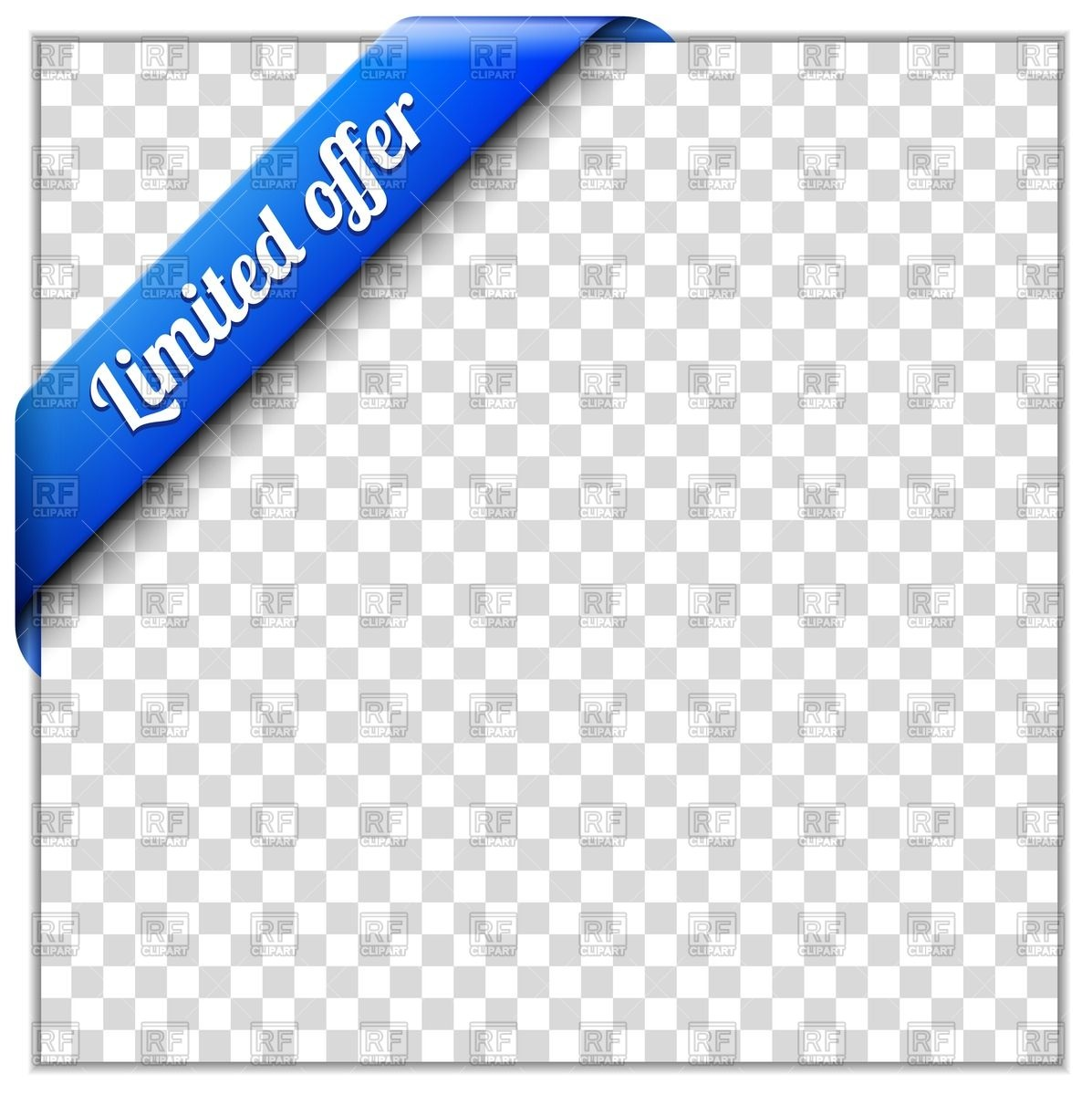 Blue corner ribbon - limited offer Royalty Free Vector Clip Art