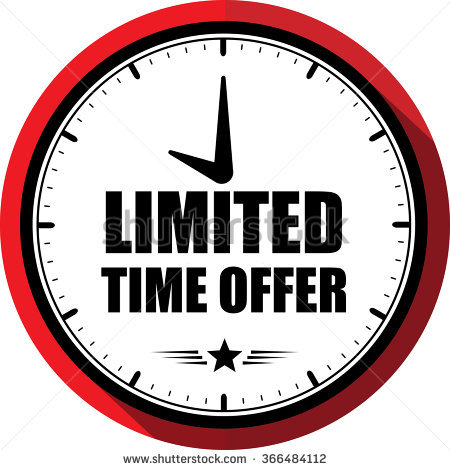 Limited time offer red, Button, label and sign.