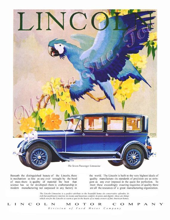 Giant Blue Parrot - Art Deco Painting by Stark Davis - Seven Passenger  Lincoln Limousine Advertisement. Lincoln Motor CompanyFord ClipartLook.com